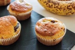 muffin met chocolade en banaan