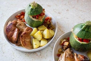 fazantfilet met ratatouille en aardappelen uit de oven