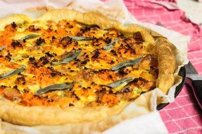 quiche van zoete aardappel en wortel