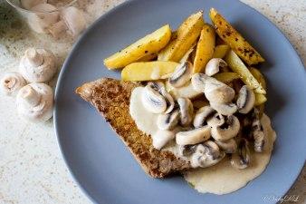 aardappelen met champignon roomsaus