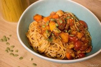 spaghetti bolognese met pompoen